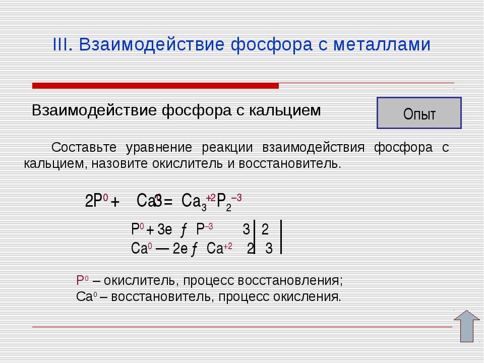 III. Взаимодействие фосфора с металлами Взаимодействие фосфора с кальцием Опы...