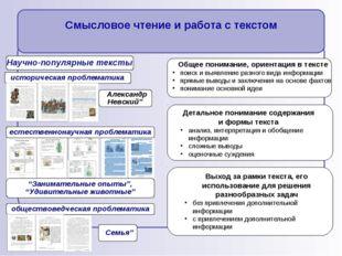 Общее понимание, ориентация в тексте поиск и выявление разного вида информац
