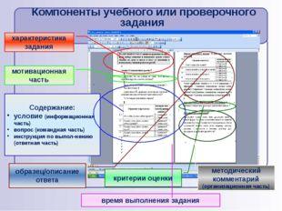 Компоненты учебного или проверочного задания характеристика задания мотиваци