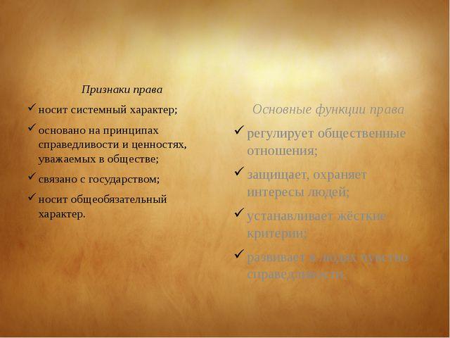 Признаки права носит системный характер; основано на принципах справедливост...