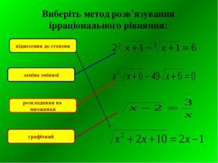 Виберіть метод розв'язування ірраціонального рівняння: піднесення до степеня