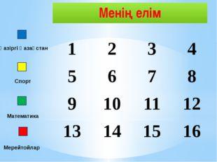 Менің елім Қазіргі Қазақстан Спорт Математика Мерейтойлар 1 2 3 4 5 6 7 8 9 1