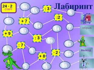 82 = 64 Р 64 : 22 = 16 А 23 = 8 У 98 : 2 = Б 90 : 30 = Ю 100 – 2 = О 7 ∙ 12