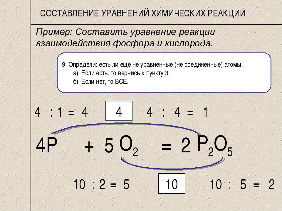 Как решить химическое уравнение поэтапно