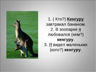 1. ( Кто?) Кенгуру завтракал бананом. 2. В зоопарке я любовался (кем?) кенгур