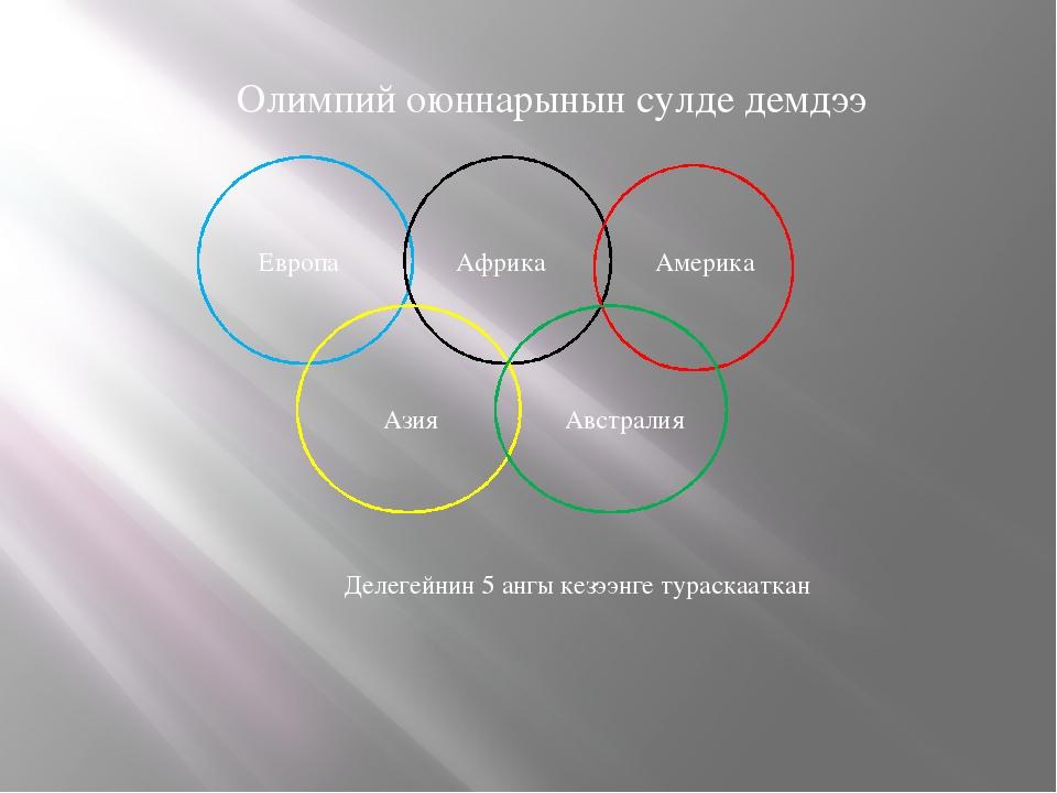 Олимпий оюннарынын сулде демдээ Европа Африка Америка Азия Австралия Делегей...