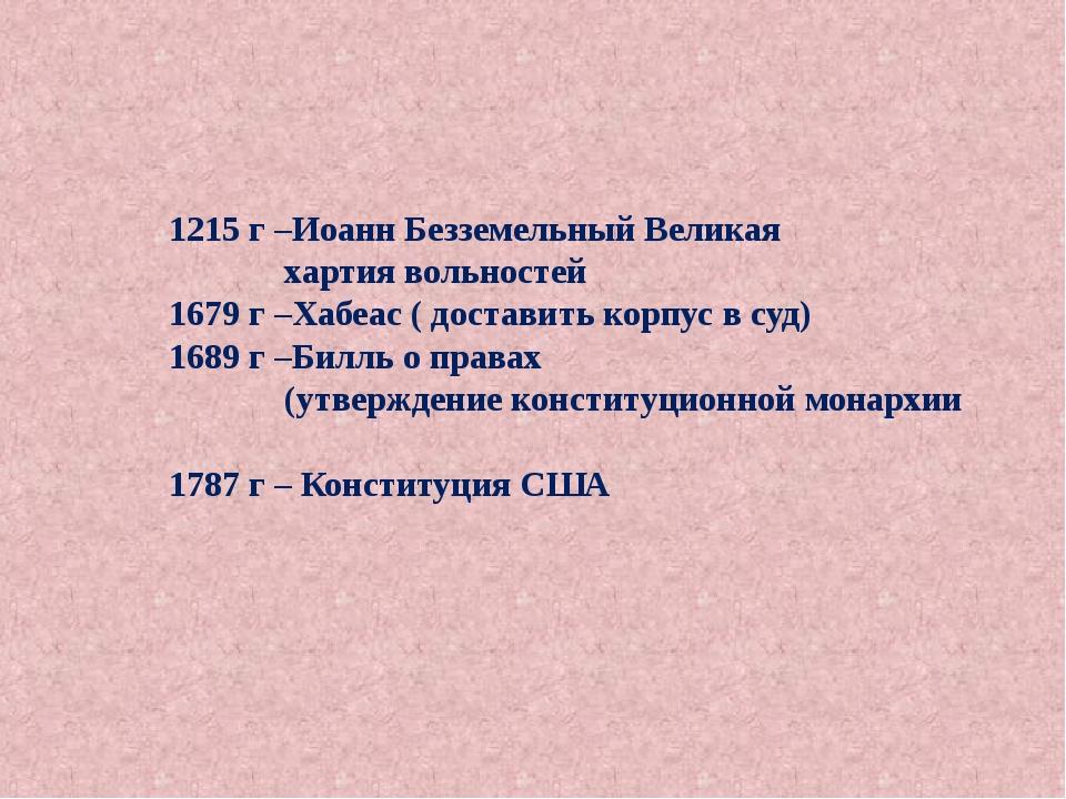 1215 г –Иоанн Безземельный Великая хартия вольностей 1679 г –Хабеас ( достав...