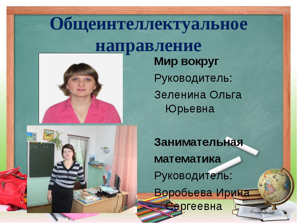 Общеинтеллектуальное направление Мир вокруг Руководитель: Зеленина Ольга Юрье...