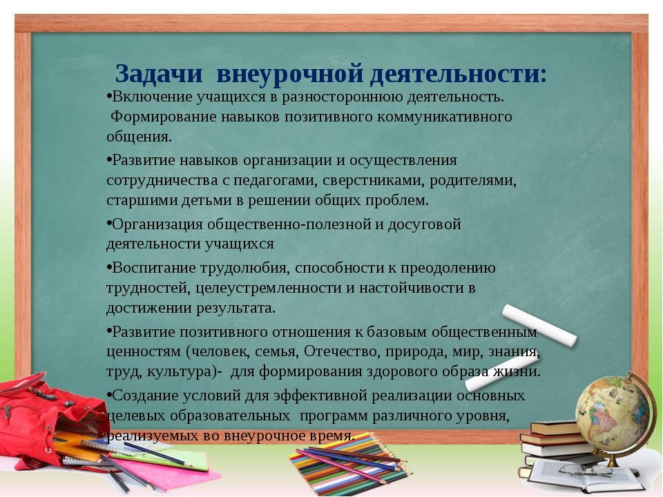 Задачи внеурочной деятельности: Включение учащихся в разностороннюю деятельно...