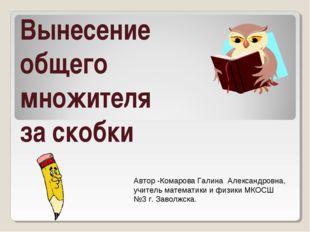 Вынесение общего множителя за скобки Автор -Комарова Галина Александровна, уч