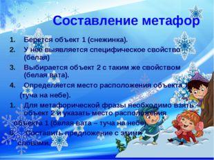 Составление метафор Берется объект 1 (снежинка). У нее выявляется специфическ