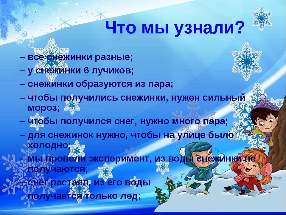 Что мы узнали? – все снежинки разные; – у снежинки 6 лучиков; – снежинки обр...