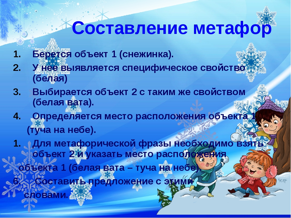 Составление метафор Берется объект 1 (снежинка). У нее выявляется специфическ...