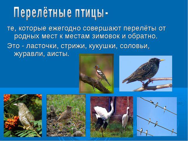 те, которые ежегодно совершают перелёты от родных мест к местам зимовок и об...