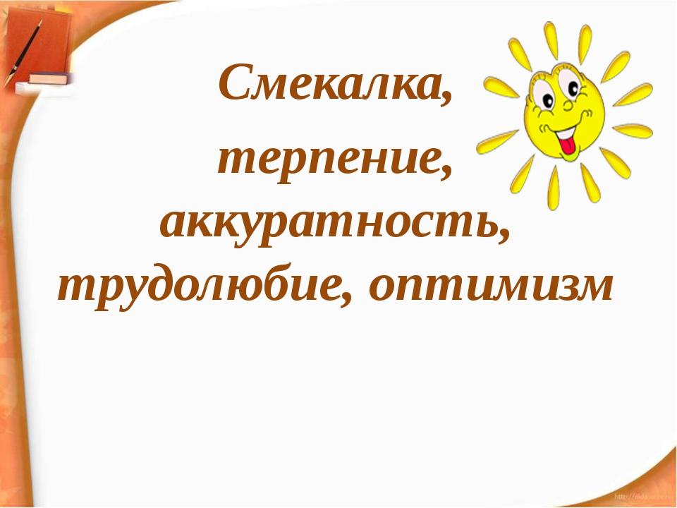 Смекалка, терпение, аккуратность, трудолюбие, оптимизм