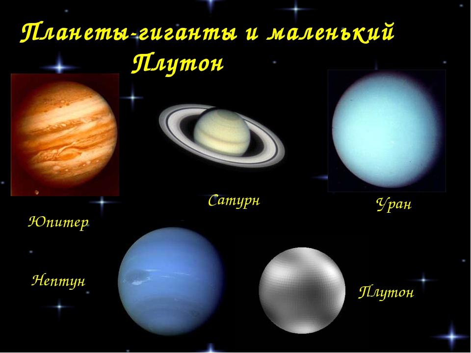 Планеты-гиганты и маленький Плутон Юпитер Сатурн Уран Нептун Плутон