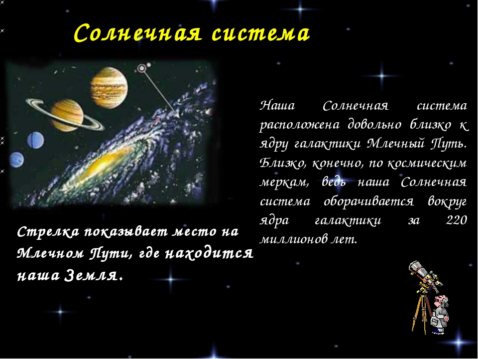 Солнечная система Стрелка показывает место на Млечном Пути, где находится наш...
