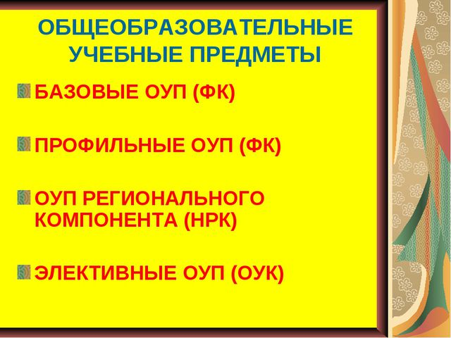 ОБЩЕОБРАЗОВАТЕЛЬНЫЕ УЧЕБНЫЕ ПРЕДМЕТЫ БАЗОВЫЕ ОУП (ФК) ПРОФИЛЬНЫЕ ОУП (ФК) ОУП...
