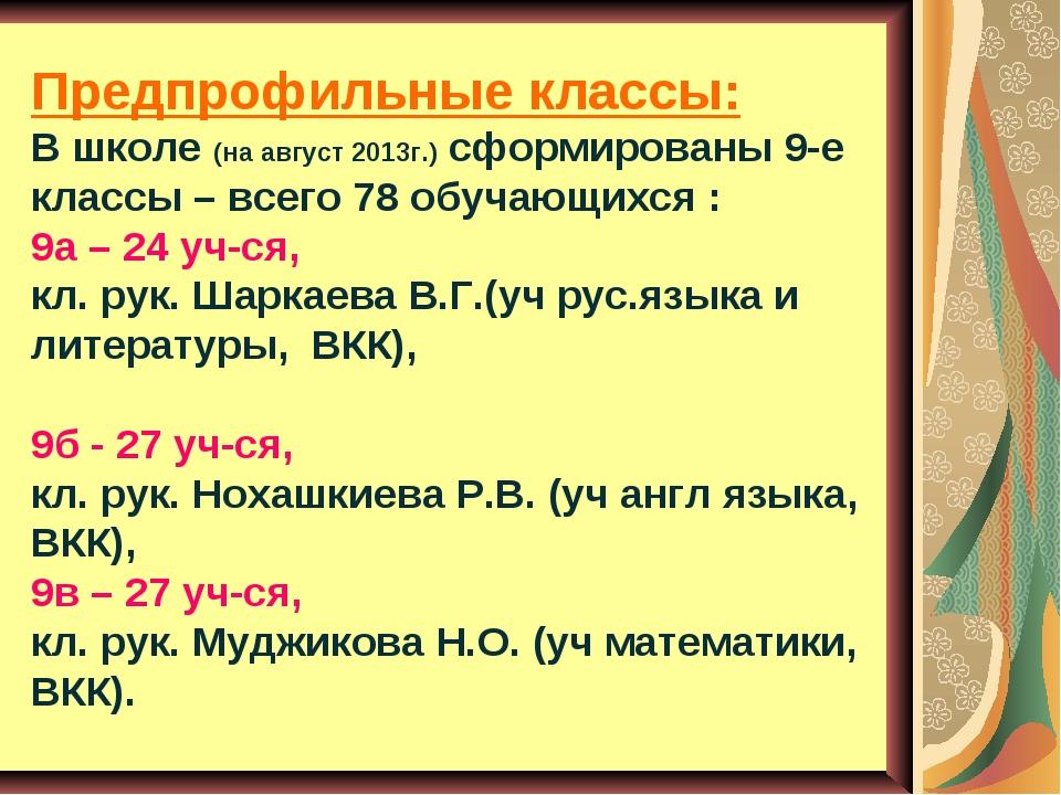 Предпрофильные классы: В школе (на август 2013г.) сформированы 9-е классы – в...
