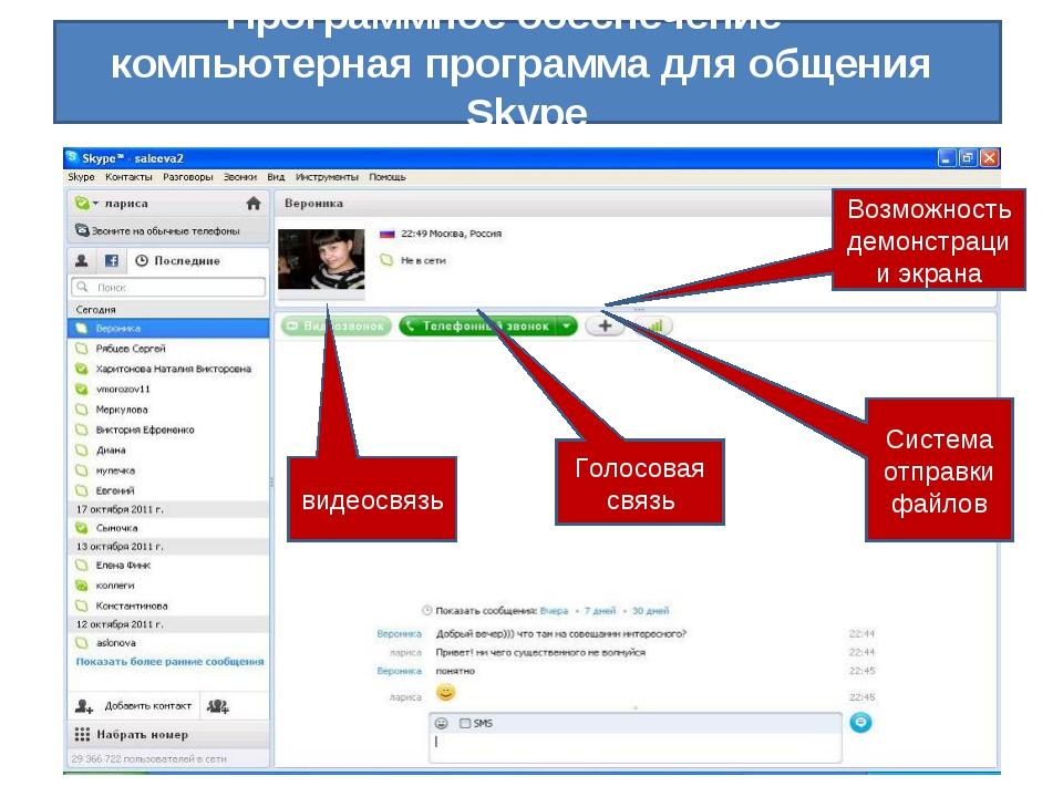 Программное обеспечение – компьютерная программа для общения Skype видеосвяз...