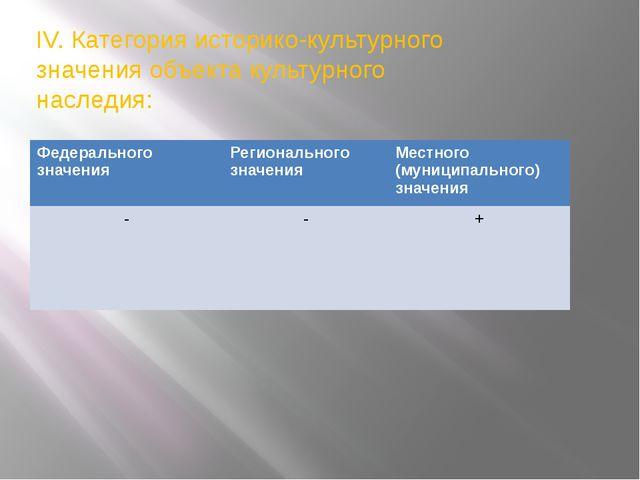 IV. Категория историко-культурного значения объекта культурного наследия: Фед...
