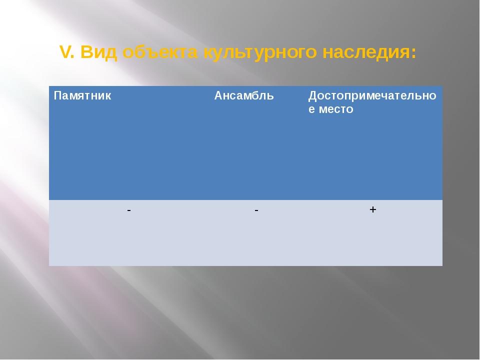 V. Вид объекта культурного наследия: Памятник Ансамбль Достопримечательное ме...