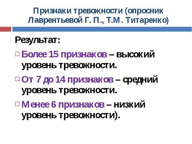 Признаки тревожности (опросник Лаврентьевой Г. П., Т.М. Титаренко) Результат:...