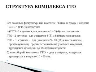 """Все союзный физкультурный комплекс """"Готов к труду и обороне СССР"""" (ГТО) сос"""