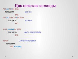 Циклические команды FOR I:=N TO K DO BEGIN ТЕЛО ЦИКЛА ЕСЛИ K>N END; FOR I:=K