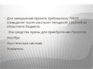 Для завершения проекта требовалось 70650 (семьдесят тысяч шестьсот пятьдесят