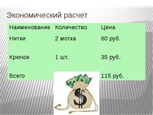 Экономический расчет Наименование Количество Цена Нитки 2 мотка 80 руб. Крючо