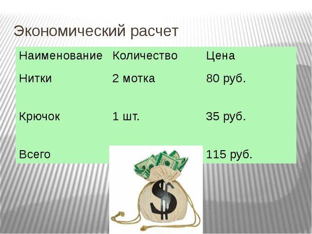 Экономический расчет Наименование Количество Цена Нитки 2 мотка 80 руб. Крючо...