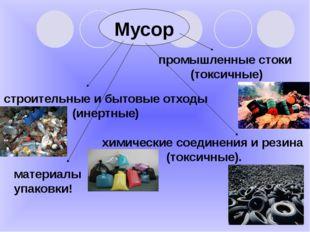 Мусор строительные и бытовые отходы (инертные) промышленные стоки (токсичные