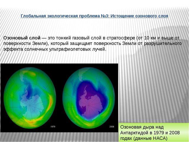 Глобальная экологическая проблема №3: Истощение озонового слоя Озоновый слой...