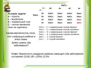 АаСс Аaсc Условие задачи: а – глухота с – альбинизм А – нормальный слух С – с