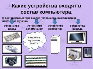 Какие устройства входят в состав компьютера. В состав компьютера входят устро