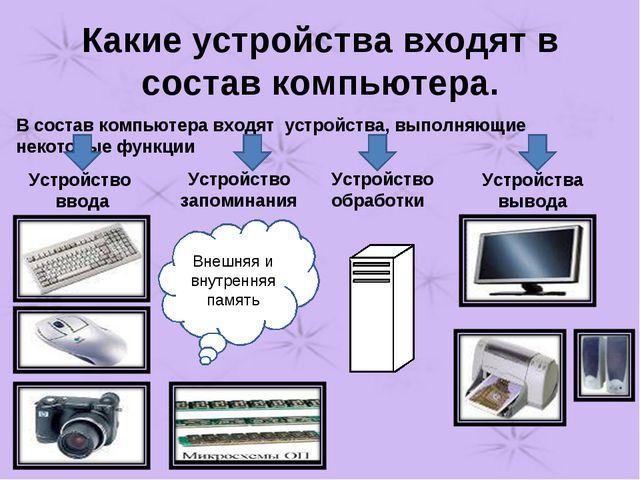 Какие устройства входят в состав компьютера. В состав компьютера входят устро...