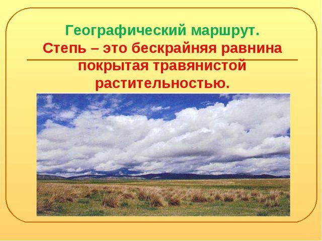 Географический маршрут. Степь – это бескрайняя равнина покрытая травянистой р...
