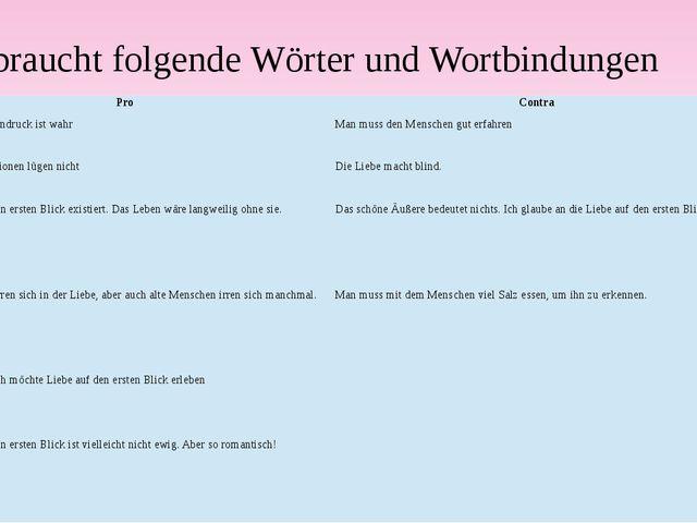 Gebraucht folgende Wörter und Wortbindungen Pro Contra Nur der erste Eindruck...