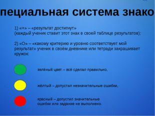 1) «+» – «результат достигнут» (каждый ученик ставит этот знак в своей таблиц