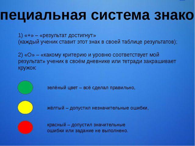 1) «+» – «результат достигнут» (каждый ученик ставит этот знак в своей таблиц...