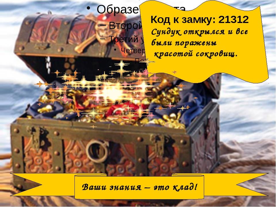 Ваши знания – это клад! Код к замку: 21312 Сундук открылся и все были пораже...