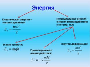 Энергия Кинетическая энергия – энергия движения Потенциальная энергия – энерг