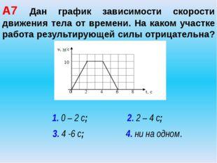 А7 Дан график зависимости скорости движения тела от времени. На каком участке