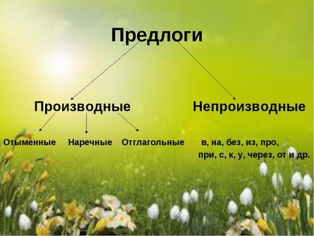 Предлоги Производные Непроизводные Отыменные Наречные Отглагольные в, на, без...