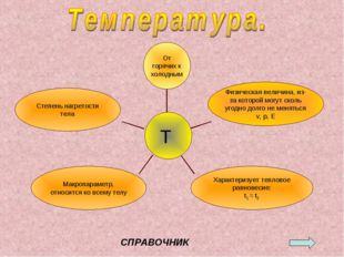 Степень нагретости тела Макропараметр, относится ко всему телу Характеризует