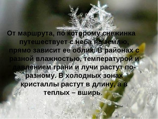 От маршрута, по которому снежинка путешествует с неба на землю, прямо зависит...