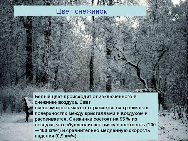 Цвет снежинок Белый цвет происходит от заключённого в снежинке воздуха.Свет...