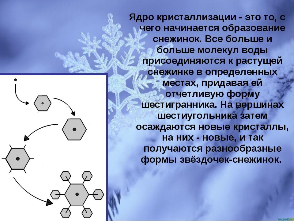 Ядро кристаллизации - это то, с чего начинается образование снежинок. Все бол...