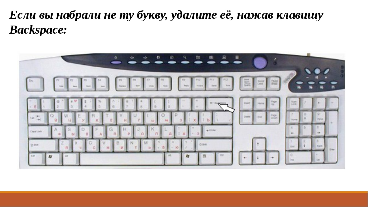 Если вы набрали не ту букву, удалите её, нажав клавишу Backspace: